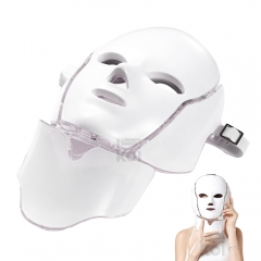 Led Facial Mask 7 Color Light PDT Photo Therapy Neck Mask Beauty Skin Care Treatment for Skin Rejuvenation